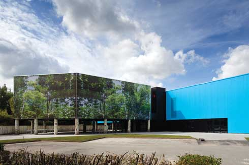OostCampus, the Town Hall and Civic Centre, in Bruges, Belgium is a futuristic re-design of an obsolete Coca Cola factory.