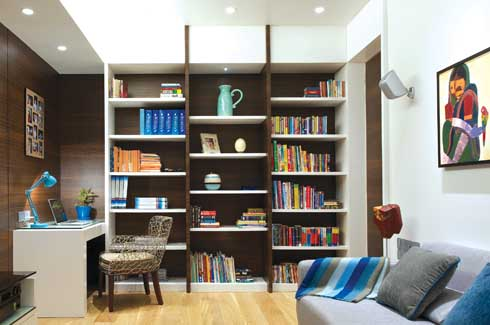 A media library and the traditional book nook gets a facelift with vibrant splashes of colours and an eclectic mix of textures ranging from ceramic to wood tones and canvas and raw silk.