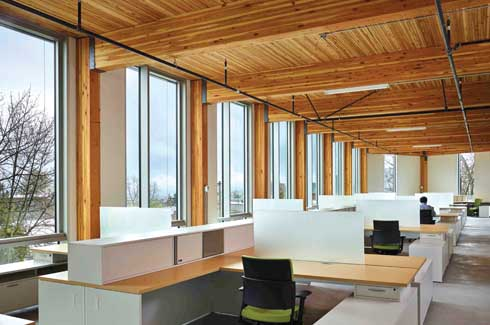 The window systems in the building provide natural lighting to almost 100% of the perimeter spaces.