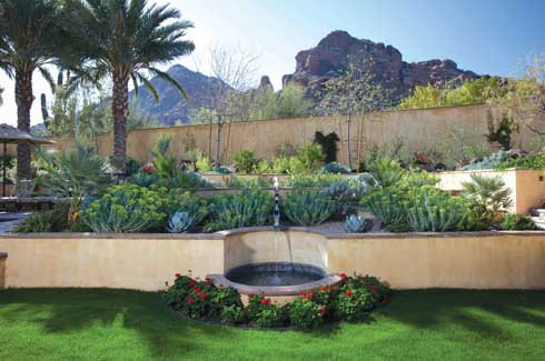 TThe stucco wall provides the perfect frame for the looming mountain in the background.  The stepped garden gradually draws the eye upward to Camelback Mountain.