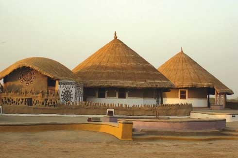 The Shaam-e-Sarhad village resort in the north of Bhuj has made its mark as a tourist attraction as well as an architectural achievement.