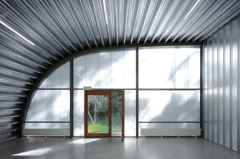 Semi-transparent glass helps maintain privacy, yet blurs the divide between the inside and the outside.