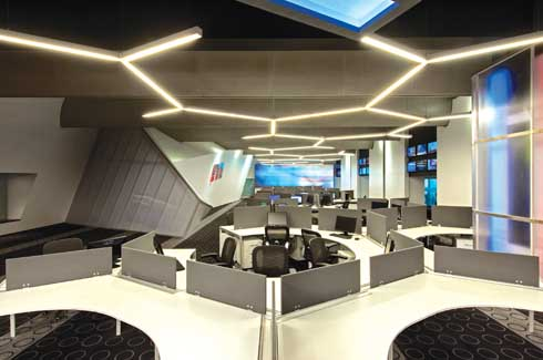 workstation lighting. A Hexagonal Network Of Lights, Mirrors The Workstation Profile; Futuristic Appeal That Lighting B