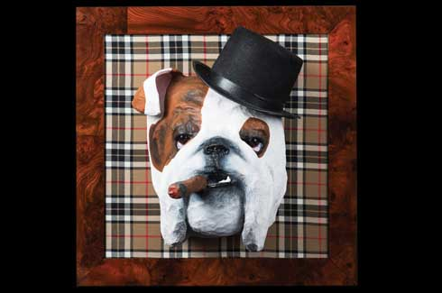Max the bulldog looks like Winston Churchill, complete with hat and a cigar dangling from his mouth. Using nothing more than chicken wire and a wire cutter, Maun gives shape to her imagination.