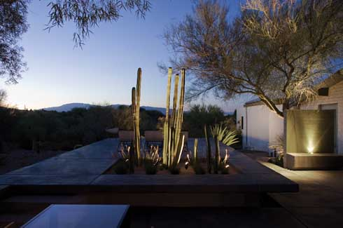 The outdoor living space allows the owners to take advantage of South Arizona's climate and mountain views all year round.