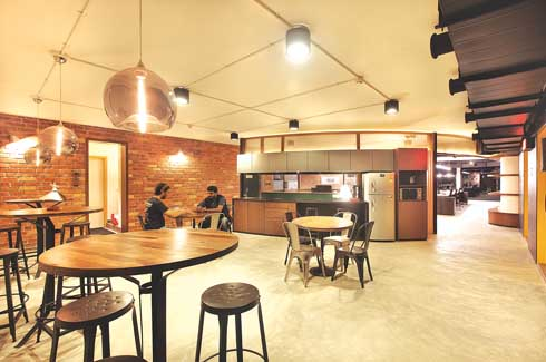 Lights in the multi-purpose area transform the space into a cosy lounge as the evening wears on.