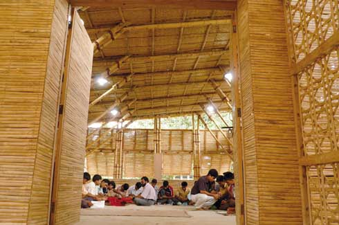Bamboo walls for the first-floor classrooms provide both shade and softness.
