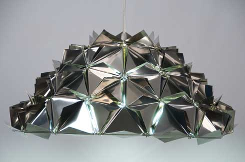 Steel Dome Light These faceted tactile dome lights are based on Buckminster Fuller's geodesic dome