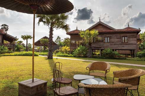 Sala Lodges recreates a traditional village setting, albeit a luxurious one amidst abundant tropical flora.
