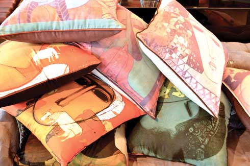 Cushion Covers  An eclectic mix of cushion covers by artists Siddharth and Mamta Shingade