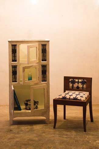 White Antique Cabinet and Chair The shutters of the cabinet were cladded with shibori printed fabric to match the chair
