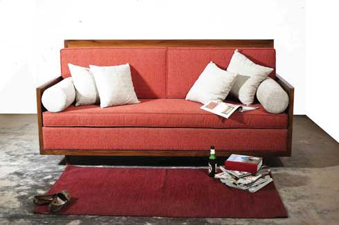Red Siesta Sofa This well structured solid wood sofa brings in a pop of colour in an otherwise boring living room