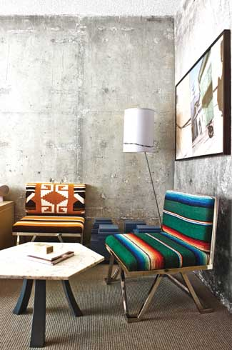 Chairs upholstered with Mexican blankets follow the repurposing theme at The Line.