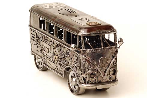 Depicted above is a recreation of an old Volkswagen bus.