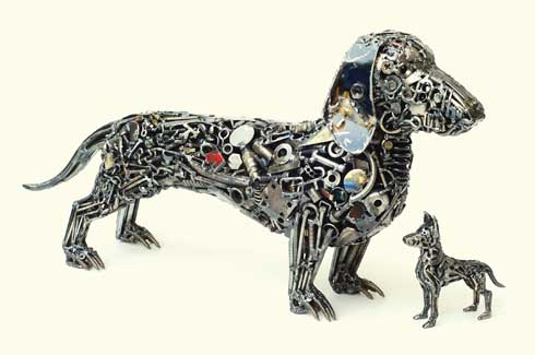 Man's best friend remains the most popular theme with Brian receiving maximum commissions  for his scrap-metal dogs.
