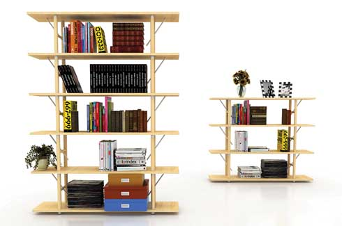 Palla  Palla, a height adjustable bookcase consists of a modular shelf with flexible storage capabilities