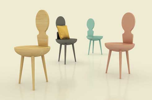 "Ruby Chair Ruby chair is inspired from the Hindustani musical instrument  ""Esraj or Dilruba"""