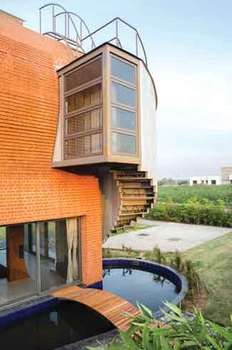 Architecture & Beyond, tall glass walls, block's façade, brick wall, farmhouse