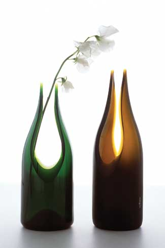 Transglass, Eindhoven Design Academy, Glass bottles, Studio Tord Boontje, Tord Boontje, eco-friendly home accessories, lighting, graphics, textiles, ceramics, furniture