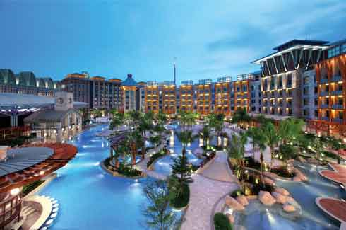 Beach Villas, Crockfords Tower, Equarius Hotel, Festive Hotel, Hard Rock Hotel, Hotel Michael, Resorts World Sentosa, Singapore .