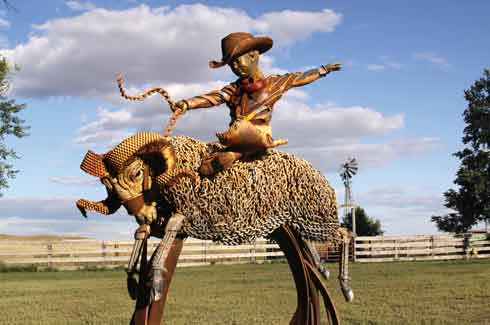 John Lopez, scrap iron sculptures, South Dakota, USA, California, New York.
