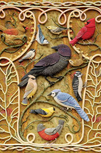 Fibre artist, Salley Mavor, sewing, tableaux, fabric, needlework.
