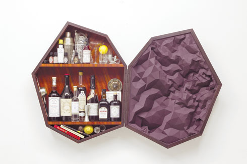 Elisa Strozyk, German textile designer, wooden carpet, Accordion collection, Septagon bar cabinet, Sebastian Neeb.