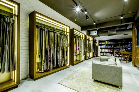 Mantra Furnishings, Surat, DesignCore, industrial look, exposed bricks.