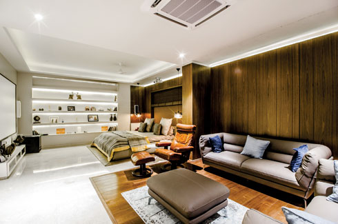 Manish Choksi, Design Core, Surat, Moiz Faizulla, contemporary interiors, Italian marble flooring, exposed bricks.