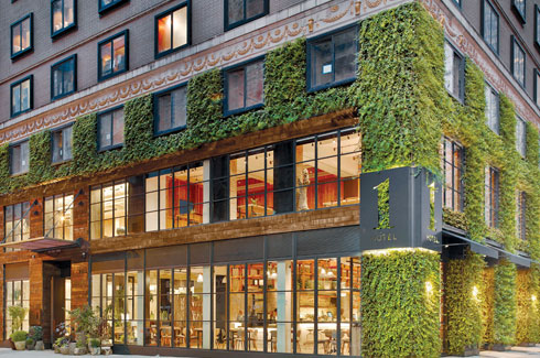 Barry Sternlicht, One Hotel Central Park, SH Group, 1 Hotels, AvroKO Hospitality Group, Manhattan, Adam Farmerie, adaptive reuse process, AgroSci, green wall, industrial architecture.