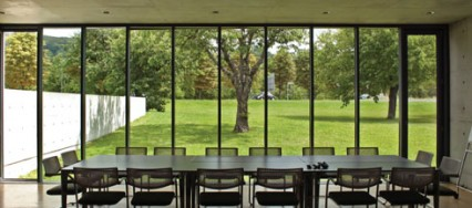 Weil am Rhein, Vitra Campus, Conference Pavilion by Tadao Ando, Fire Station by Zaha Hadid, traditional Japanese architecture, cast in-situ concrete