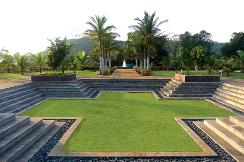 Landscape architect, Kishore D. Pradhan, Konkan farmhouse, charbagh pattern, terraced deck.