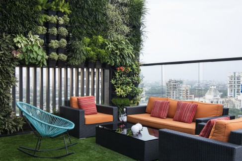 KNS Architects, terrace garden, warm interiors, Mumbai, penthouse, fusion.