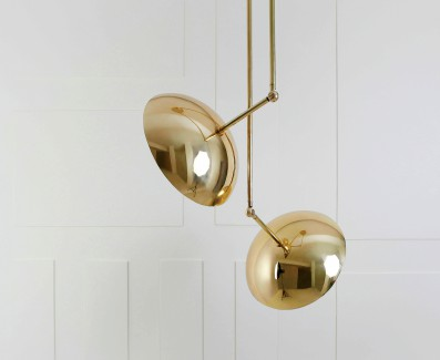 Paul Matter, Nikhil Paul, Custom lamps, New Delhi, brass, copper, stone, leather, mouth blown glass.