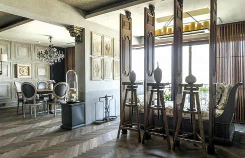 a. Tejal Mathur Design, Mumbai apartment, panelled wall accents, unique decorative elements, metal handles, wooden surfaces, industrial grey, Gothic.