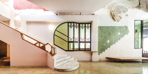 Sala Beckett, Ricardo Flores, Eva Prats, restoration, reused flooring, spatial and decorative, plasterwork, polychrome tiles, rose windows, masonry fabric.