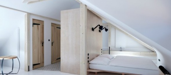 Štajnhaus, Czech Republic, ORA Architects, vernacular design, Minimalistic beds, sloped roof, black over white.