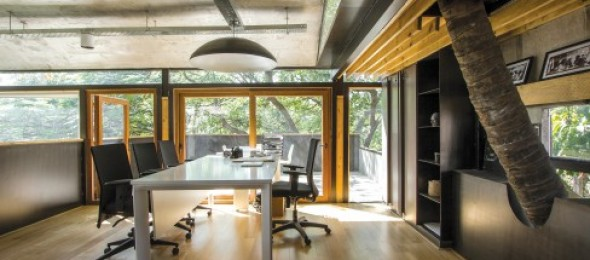 Sanctuary Architects, Bengaluru, Sanctuary Office, leafy, two-layered roof system, multi-functional unit, outdoor seating scheme.