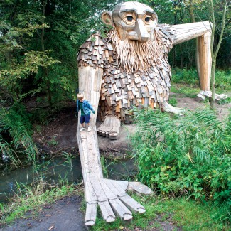 Danish, Sculptor, Thomas Dambo, art, fun, forests, Copenhagen, recycled materials.