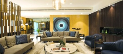 Atelier Design N Domain, Anand Menon, Veneer panelling, sky retreat, 3D brass screens, blue-black palette, Stark white outdoor loungers, beige-grey leather, Grey mirror cladding,