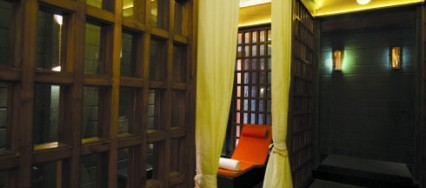 Sohum Spa, Bangalore, Kaushik Mukherjee Architects, pradakshina, old stone, old timber, beaten copper.