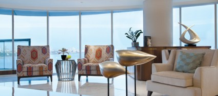 ZZ Architects, Queen's Necklace, contemporary, elliptical living room, Krupa and Zubin.