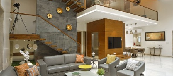 Design Ritmo, Surat, bungalow, double heighted ceiling, Open bedroom planning, library.