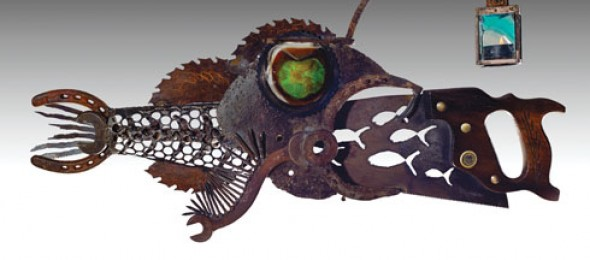 Cindy Chinn, Nebraska, multimedia artist, The Saw Lady, plasma torch, The Lamplighter Fish.